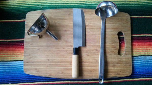 funnel, knife and ladle for Kombucha brewing