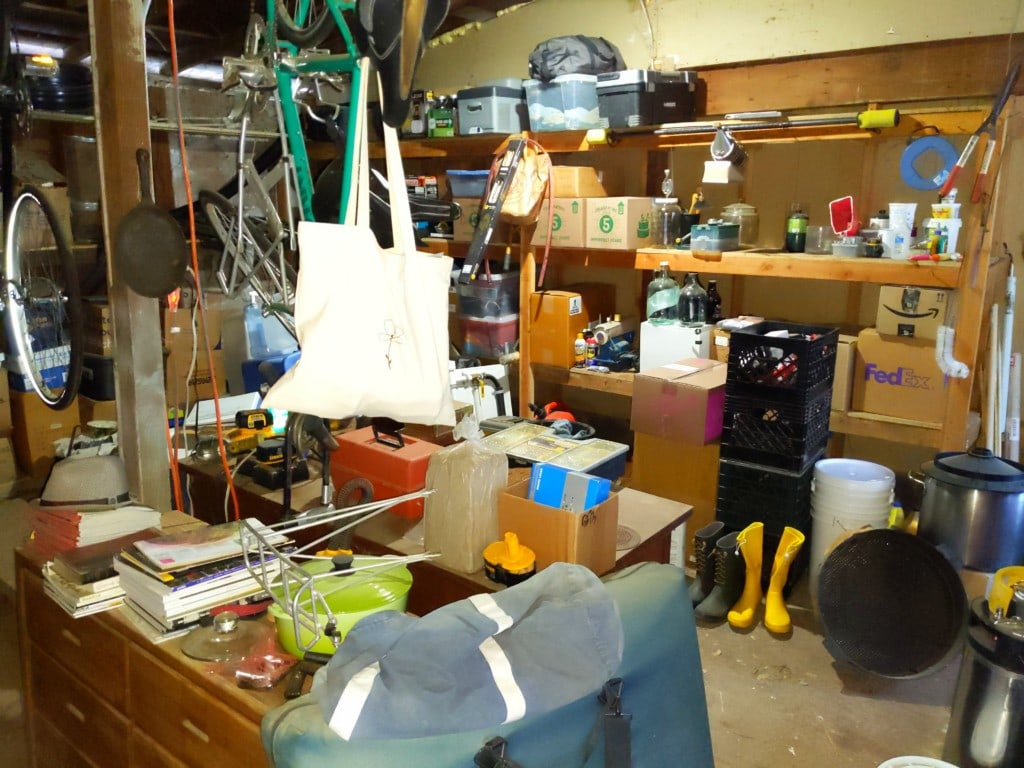 Many belongings in a storage shed
